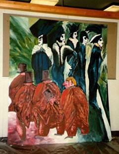 """Schulprojekt: Ein veränderter Ernst Ludwig Kirchner (Fünf Frauen auf der Straße von 1915), die nun von kleinen, fetten Männern """"umschwirrt werden""""."""